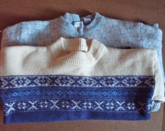 2 Long Sleeve Blue Felted Wool Sweaters for Sewing Crafting Mittens Reconstruction