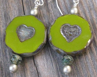 VALENTINES DAY - Lime Green Two Hearts Etched Earrings
