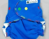 One Size Diaper Cover for Cloth Diapers - Royal Blue Wind Pro fleece with Rainbow Variegated Trim - OS Cloth Nappy Cover Wrap WindPro