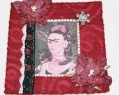 Frida Kahlo Mixed Media Mini Quilt Wall Hanging Black and Red Colors
