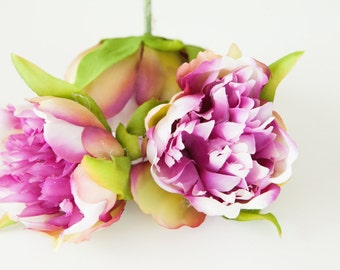 SCLEARANCE: ilk Artificial Flowers - 4 Shabby Chic Peonies in Magenta Plum and White -- 2 inches -artificial flower. WAS 7.25