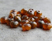 Hyacinth Opal Czech Glass Beads 5x3mm Faceted Rondelle : 30 pc Orange Rondelle