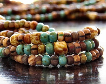 6/0 Aged Turquoise Tile Striped Czech Glass Bead Picasso Seed Bead Mix : 10 inch Strand 6/0 Striped Aged Seed Bead Mix