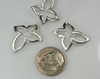 Matte Silver Butterfly pendants, Golden Silver Flower connectors, Earring Findings