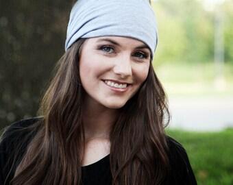 Big Headband, Large Headband, Gray Headband, Stretchy Headwrap, Stretchy Head Wrap, Bandana Headwrap, Headbands for Yoga, Wide Hair Headband