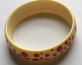 Vintage Red Polka Dot Plastic Bangle Bracelet