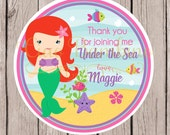 Little Mermaid Birthday Party Favor Tags or Stickers / Set of 12