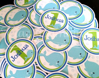 Whale Birthday Party Minis / Mini Tags for Table Confetti, make Cupcake Toppers / Royal Blue, Lime Green and Aqua Blue / Set of 75 - 0024