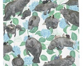 Vegans, Cute Manatee Shower Curtain, Printed in USA
