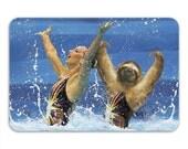 Synchronized Sloth Memory Foam Bath Mat, Funny Bathroom Rug - Printed in USA