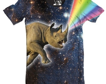 Mens Rhinocorn Men's Tee, Men's T-Shirt, Rainbow, Unicorn T Shirt, Galaxy Shirts, Outer space Tees, Funny Animal Graphic Tee, Printed in USA
