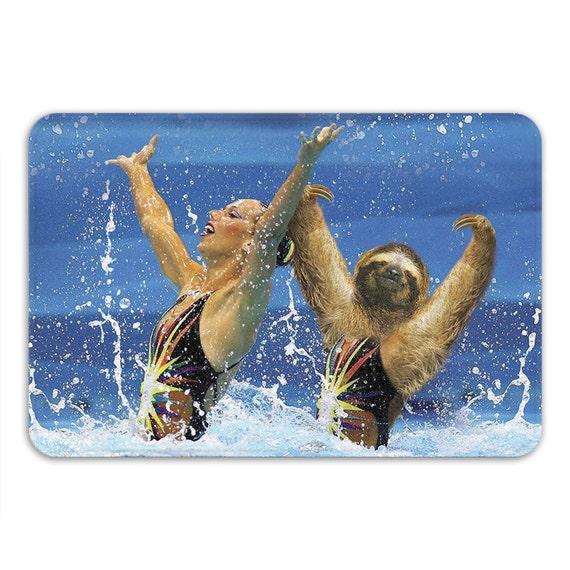 Synchronized Sloth Memory Foam Bath Mat Funny Bathroom Rug