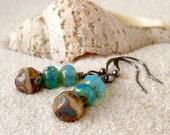 SALE - Glass Beaded Earrings - Aqua and Brown Earrings - Beaded Dangle Earrings - Gunmetal Earrings - Women's Jewelry - Beaded Earrings
