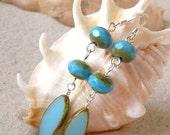 Glass Bead Jewelry - Women's Beaded Earrings - Baby Blue Earrings -  Glass Earrings - Long Dangle Earrings - Beaded Dangle Earrings