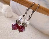 Glass Beaded Earrings - Ruby Red Earrings - Red Earrings - Glass Beaded Jewelry - Beaded Glass Earrings - Czech Glass Beaded Earrings