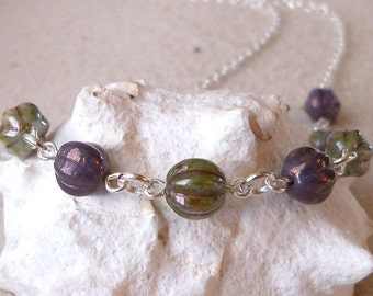 SALE - Amethyst and Soft Green Necklace - Glass Beaded Necklace - Glass Bead Necklace - Silver Necklace with Glass Beads - Women's Necklace