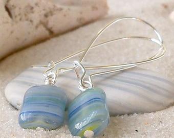 Women's Earrings - Light Blue Czech Glass Bead Earrings - Short Earrings - Long Earrings - Cornflower Blue Glass Bead Earrings - Czech Glass