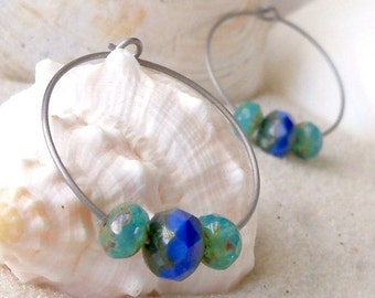 Hypoallergenic Earrings - Bead Earrings - Hoop Earrings - Pure Titanium Earrings - Glass Bead Earrings - Beaded Hoop Earrings