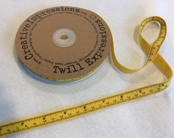 Tape Measure Twill by Creative Impressions - Yellow - 25 Yard Roll - 13.50 - 1/2 inch wide