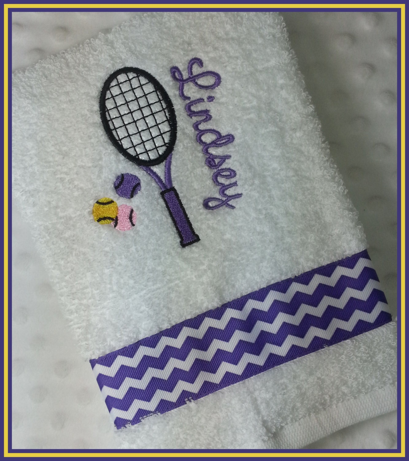 Personalized Tennis Racket Sweat Towel With Racket And Balls