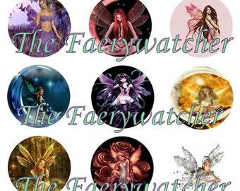 One Inch Fairy Pins, Fairy Magnets, Fairy Flatbacks,12ct. Set F