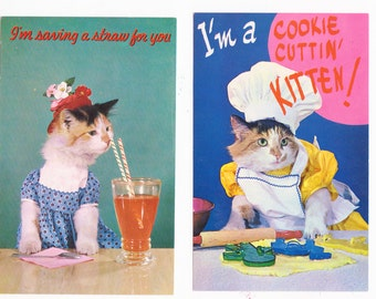 2 Vintage Kitty Cat Postcards Cats Dressed up