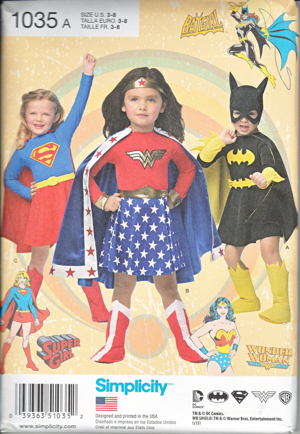 Supergirl, Wonder Woman, and Batgirl pattern Simplicity 1035