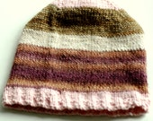 MIXED MEDIA HAT No. 1 - shades of sugarplum pink, mauve, gold patina and warm cream with cashmere, soy and other premium fibers - knit hat