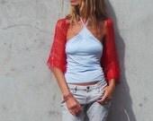 red shrug, red summer shrug, loose knit shrug, hand knit, red bolero,