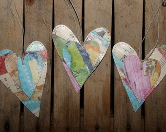 Set of 3 Collage Hearts for Tags, Scrapbooking, Cards, Gift Tags, Embellishments