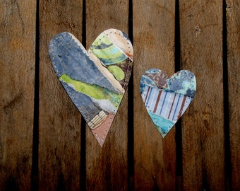 Set of 2 Fun, Funky and Whimsical Hearts for Scrapbooking, Card Making, Crafts, Tags/Set C