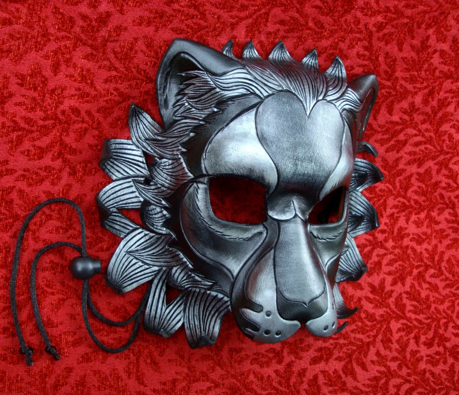 made to order black silver lion leather mask masquerade cat