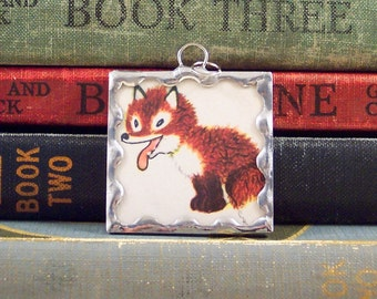 Red Fox Pendant - Woodland Animal Charm - Soldered Glass Pendant - Vintage Book Charm - Red Fox Jewelry - Story Book