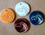 4 Handmade Stoneware Beads - Horse Beads