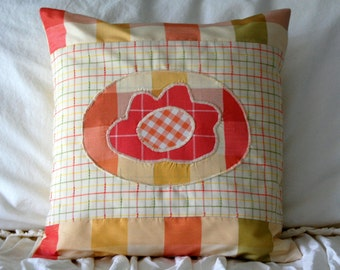 SALE Flower Patch Applique Pillow / free shipping / pink and yellow plaid nursery decor / pastel peach baby girl bedding / plaid pillow