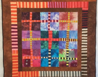 Improvisational Quilt - Sibori Window - original Art Wall Hanging