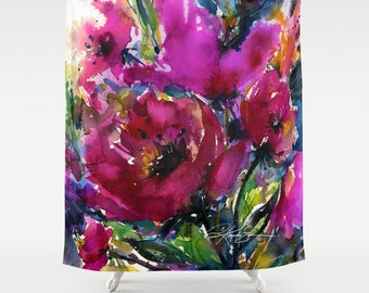 "Pink Flower Shower Curtain, Poppy Poppies Watercolor Painting of Original abstract floral art ""Jubilation"" by Kathy Morton Stanion  EBSQ"