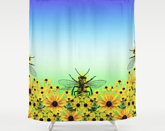 Bee ... Shower Curtain from Original abstract bee watercolor art painting by Kathy Morton Stanion  EBSQ