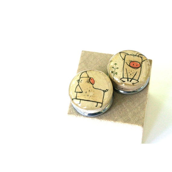 Pig Earrings, Pig Jewelry, Pink Pig Gift, Recycled Cork Post Earrings, In Wood Cube, Pig Lover Gift, Recycled Earrings, Wine Cork Jewelry