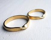 14k Yellow Gold Mobius Wedding Band Set