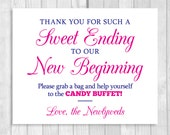 Sweet Ending to Our New Beginning 8x10 Printable Hot Pink and Navy Blue Wedding Candy Buffet Sign - Instant Digital Download