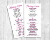 Printable 8x4 Wedding Kissing Menu - Custom Colors and Wording Available - Digital Download - Wedding Reception Game