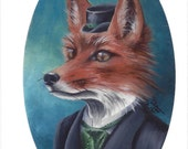 Mr Fox ACEO Fox Art Animal ACEO Fox ATC Fantasy Art Victorian Fox in Clothes