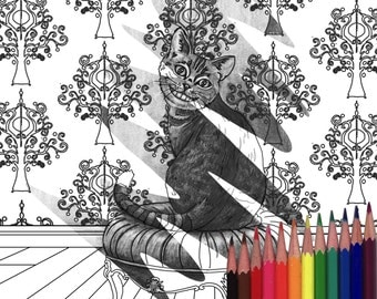 Cheshire Cat Coloring Page Alice In Wonderland Coloring Page Printable JPG Digistamp Fantasy Cats Animal Coloring Page Adult Coloring Page