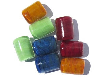 Handmade Lampwork Glass Tube Beads Fall Colors green flash snorkel blue mustard burgundy
