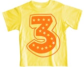 Superstar Third Birthday Short Sleeve Yellow Kids T-Shirt