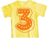 Superstar Third Birthday Short Sleeve Yellow Kids T-Shirt