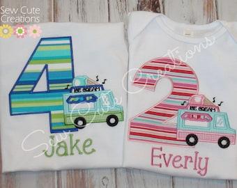 Ice cream Truck Birthday Shirt, Ice Cream Birthday shirt, Boy Ice cream shirt, Girl Ice Cream shirt, ice cream truck, sew cute creations