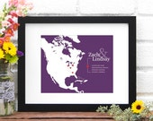 Valentine Couples Personalized History Map - Anniversary Art Print, Gift for Him, North America, Commemorate Your Vacation - 8x10 Art Print
