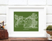 Gift for Grandpa or Dad Custom Home Illustration Personalized House Portrait Childhood Home Cabin Grandfather Gift - 8x10 Art Print